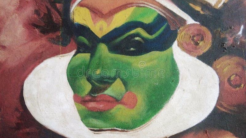 Belle peinture de toile d'un artiste de kathakali avec la peinture à l'huile, vous pouvez employer comme fond illustration stock