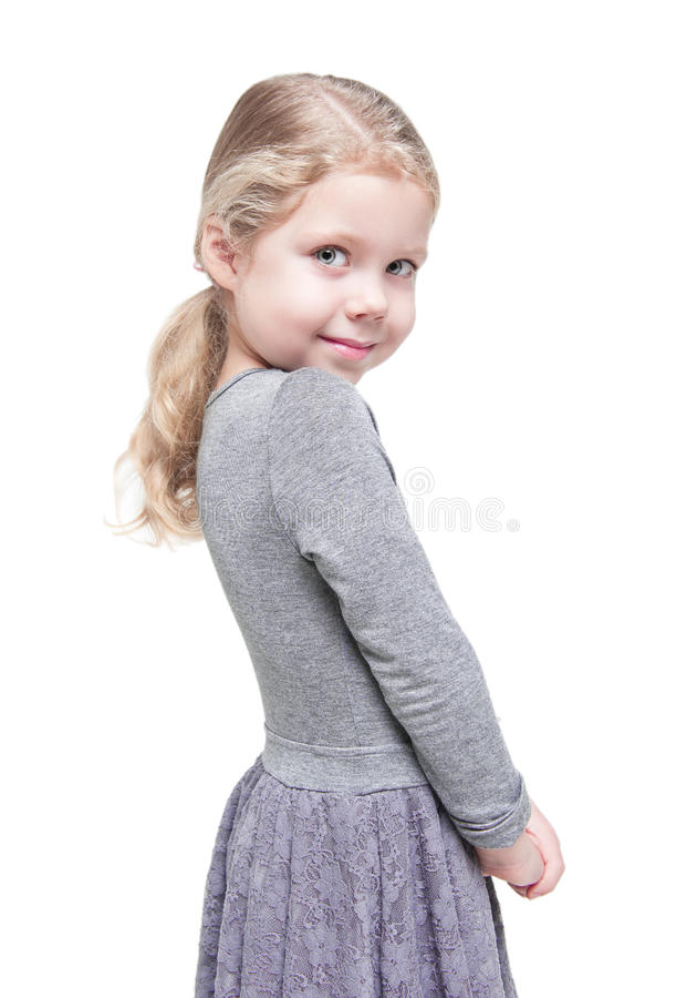 Belle petite fille avec les cheveux blonds d'isolement photos libres de droits