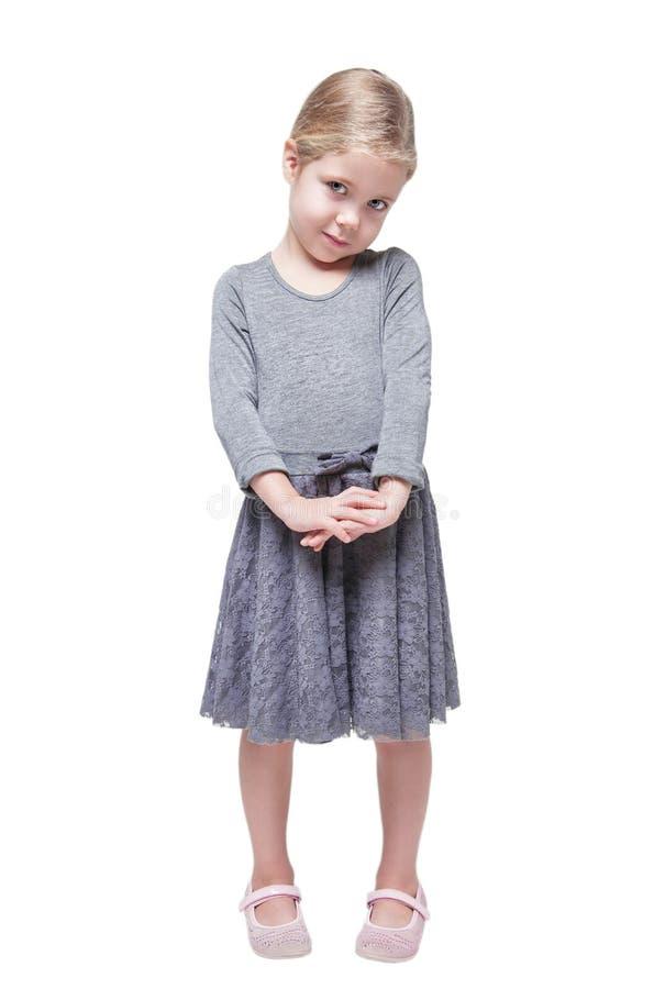 Belle petite fille avec les cheveux blonds d'isolement images libres de droits