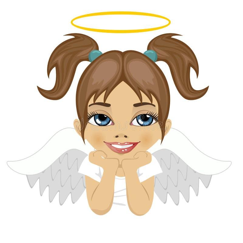 Belle petite fille d'ange rêvant au-dessus du fond blanc illustration stock