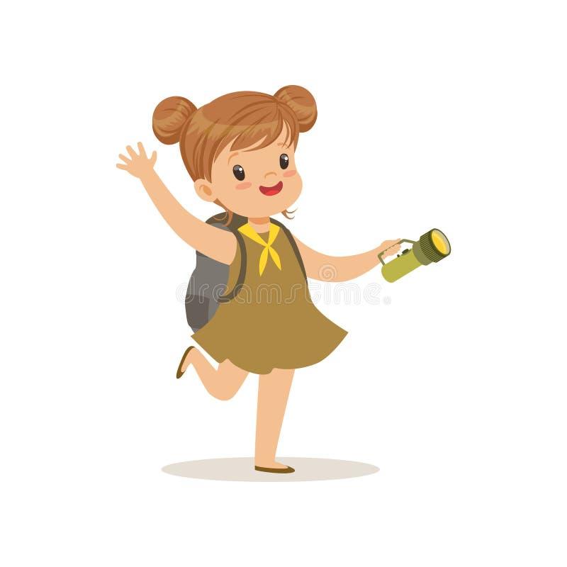 Belle petite fille dans la robe de scout avec la lampe-torche, illustration extérieure de vecteur d'activité de camp illustration stock