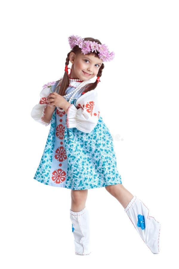 Belle petite fille dans le costume de slavic photos stock