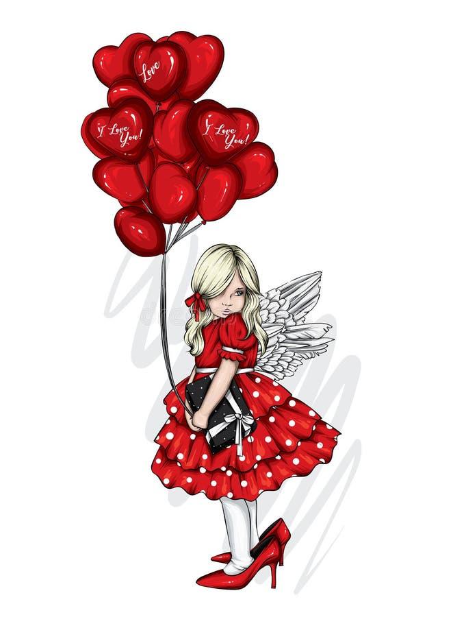 Belle petite fille en robe et avec des ballons en forme de coeur Charmant bébé Saint Valentin, amour, mignon Illustration vectori illustration libre de droits