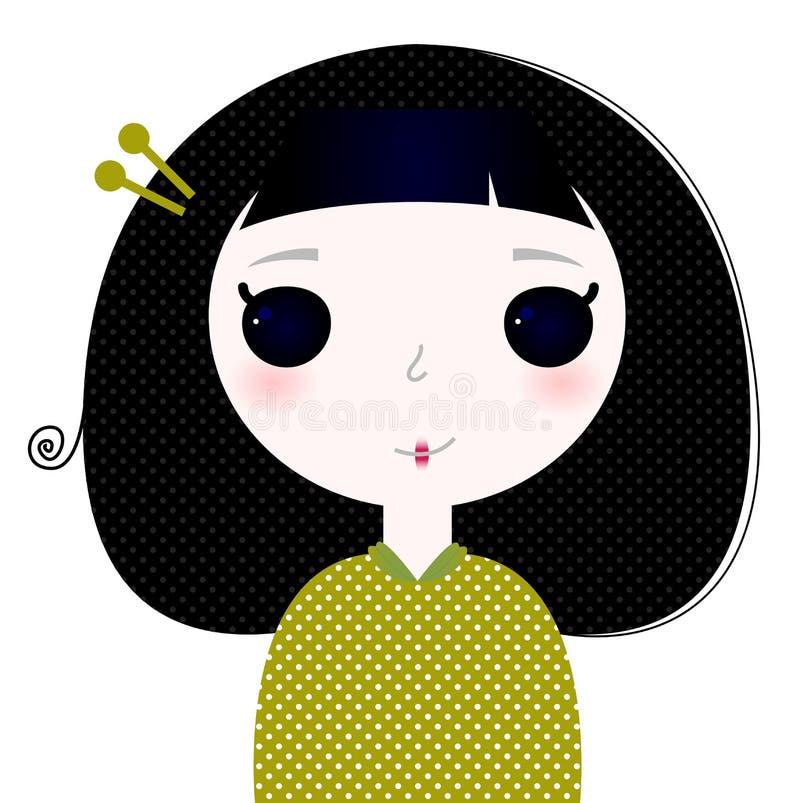 Belle petite fille japonaise mignonne de bande dessinée d'isolement sur le blanc illustration stock