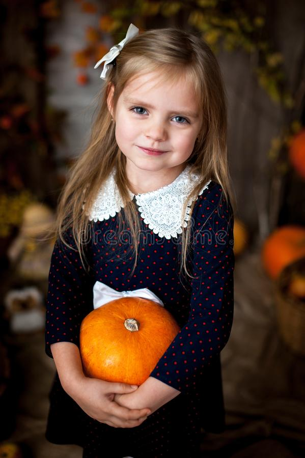 Belle petite fille tenant un potiron photographie stock libre de droits