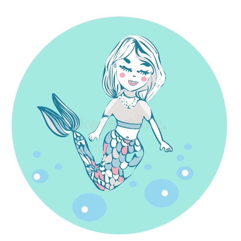 Belle petite sirène de bande dessinée dans une guirlande Sirène Thème de mer Illustration sur un fond blanc illustration stock