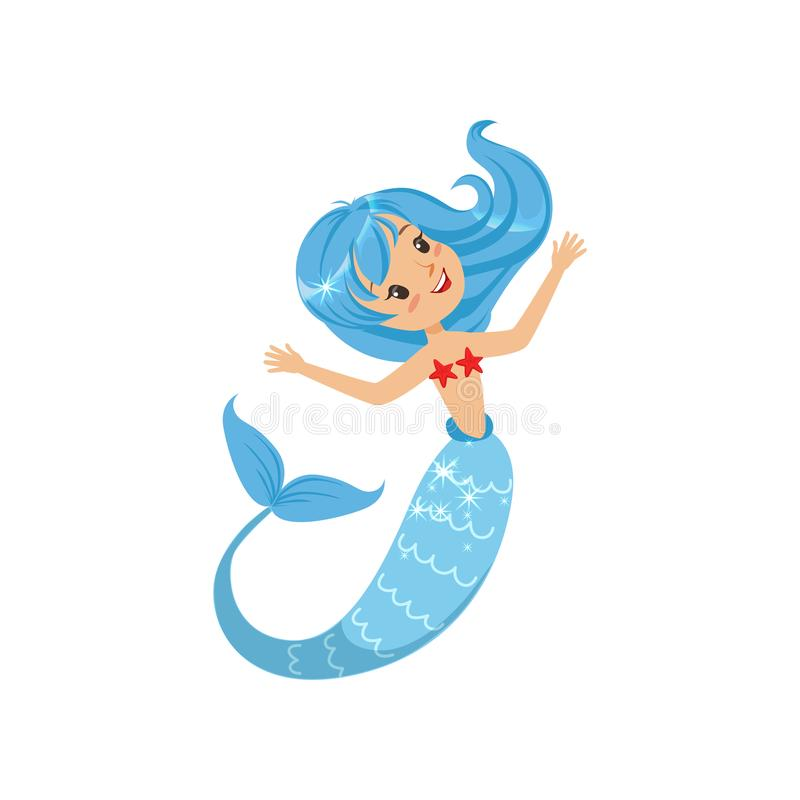Belle petite sirène de monde sous-marin Fille mythique de bande dessinée avec la queue bleue de cheveux et de poissons Thème de m illustration stock
