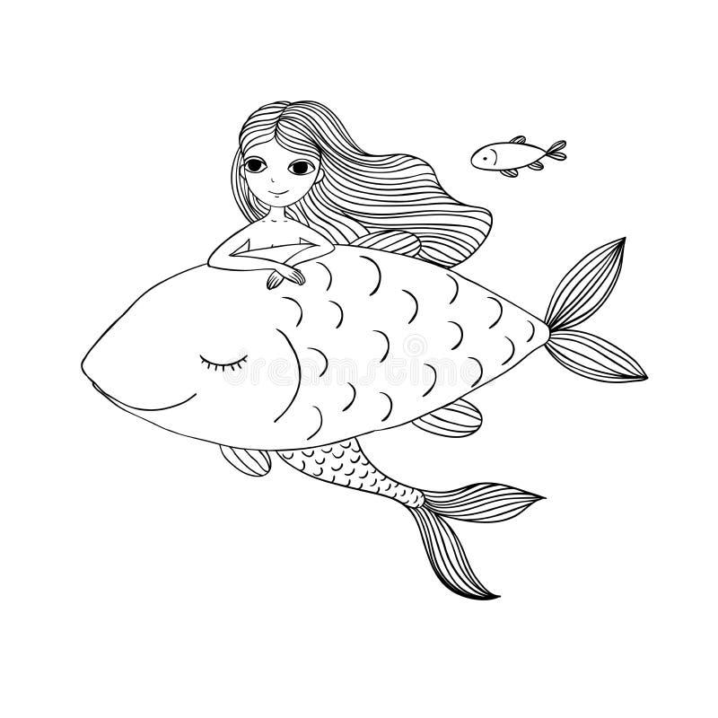 Belle petite sirène et grands poissons Sirène Thème de mer illustration stock