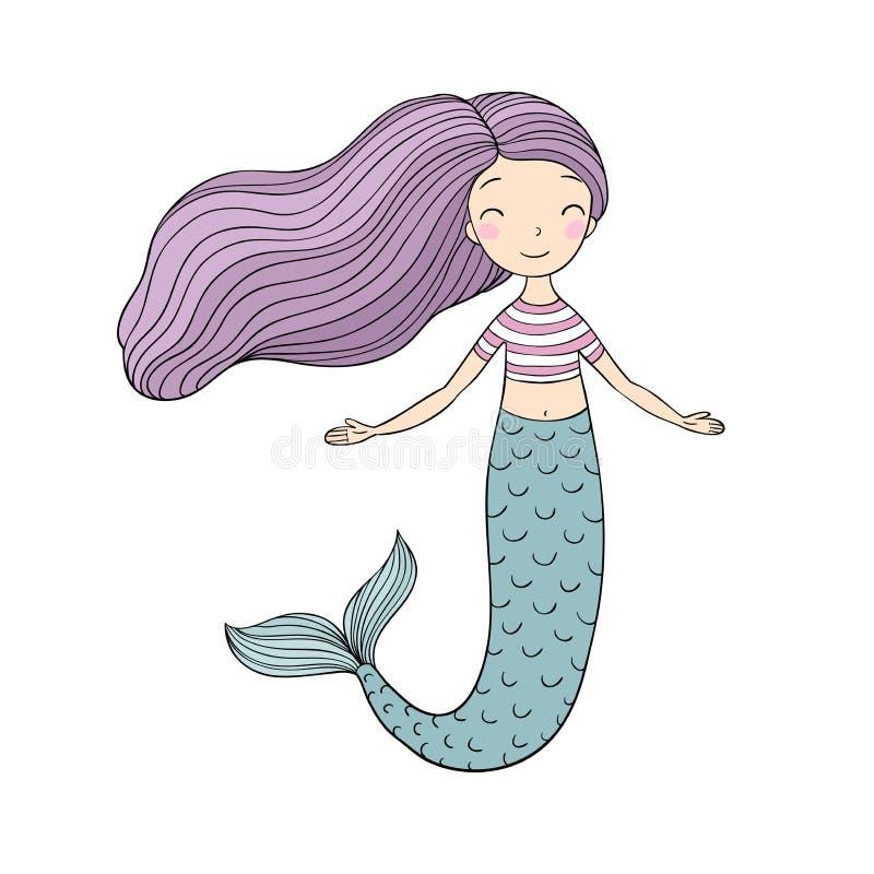 Belle petite sirène Sirène Thème de mer illustration stock