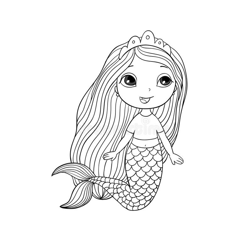 Belle petite sirène Sirène Thème de mer illustration de vecteur
