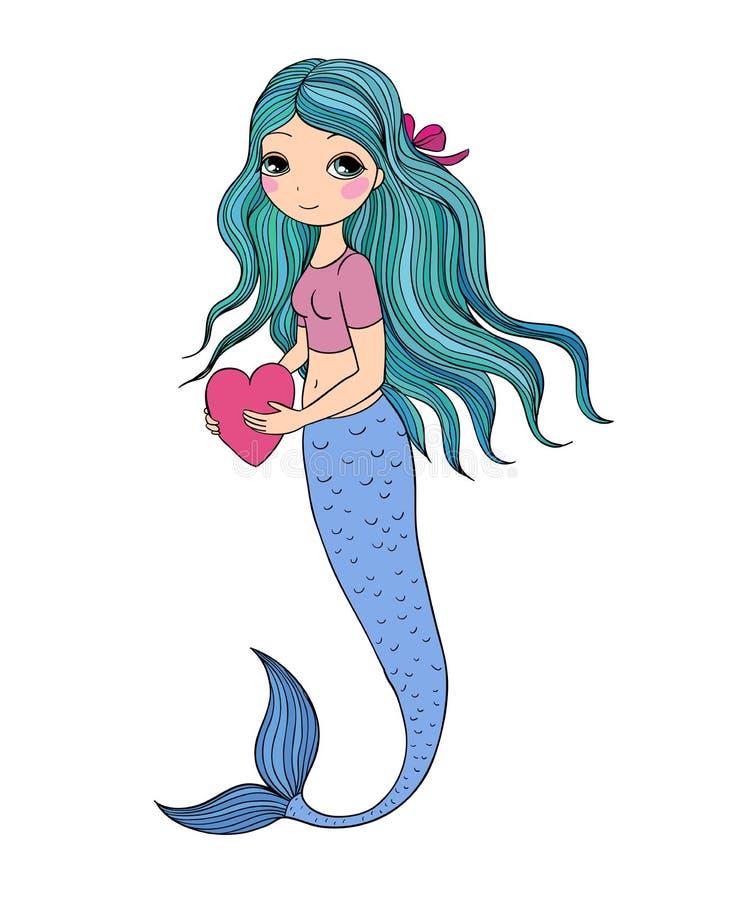 Belle petite sirène Sirène Thème de mer illustration libre de droits