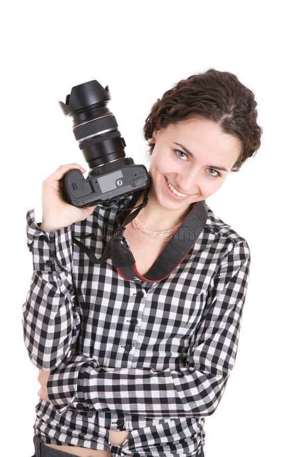 belle photo de fixation de fille d'appareil-photo photographie stock