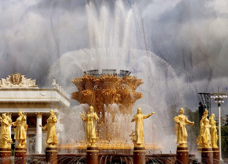 Belle photo de l'amitié d'or de fontaine des peuples image libre de droits