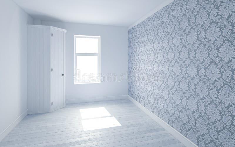 Belle pièce blanche et lumineuse avec la lumière de Sun passant, décoré du papier peint illustration de vecteur