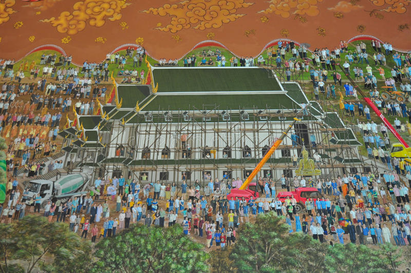 Belle pitture di Wat Khun Inthapramun, Tailandia fotografia stock libera da diritti