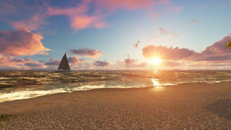 Belle plage de mer au coucher du soleil rendu 3d photographie stock