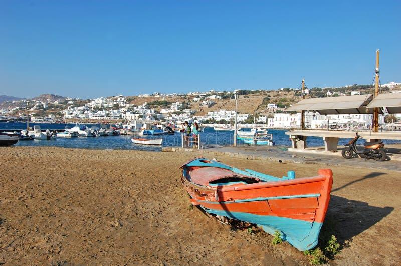 Belle plage Mykonos en île de la Grèce images libres de droits