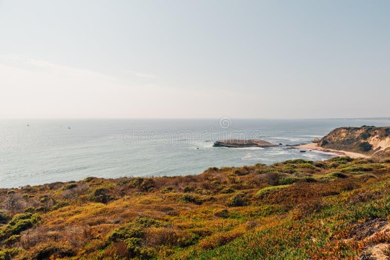 Belle plage par les falaises en Californie photographie stock libre de droits