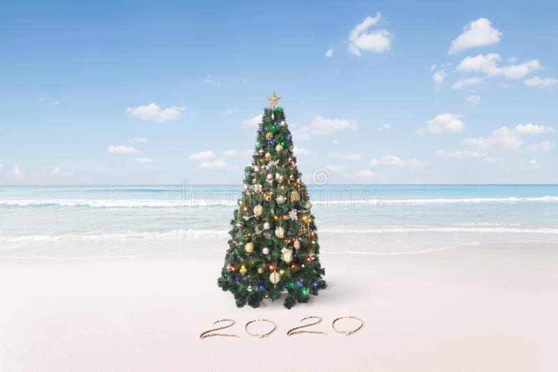 Belle plage tropicale à thème de Noël et de nouvelle année images libres de droits