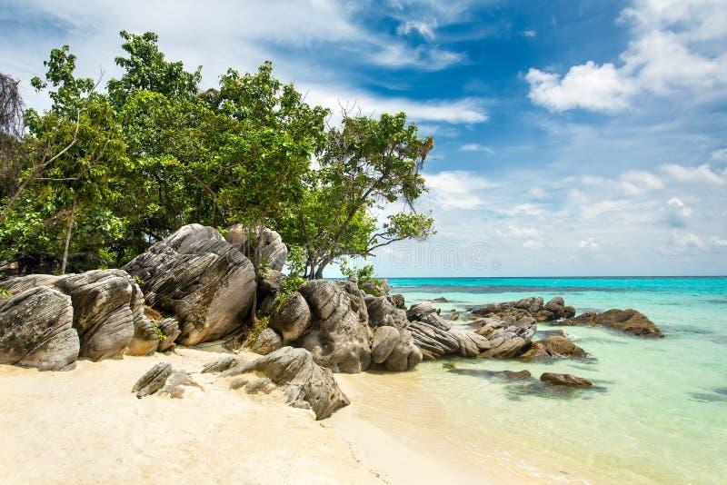 Belle plage tropicale, île de Karimunjawa, Indonésie image stock