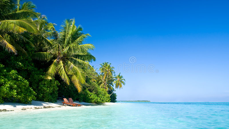 Belle plage tropicale photo stock