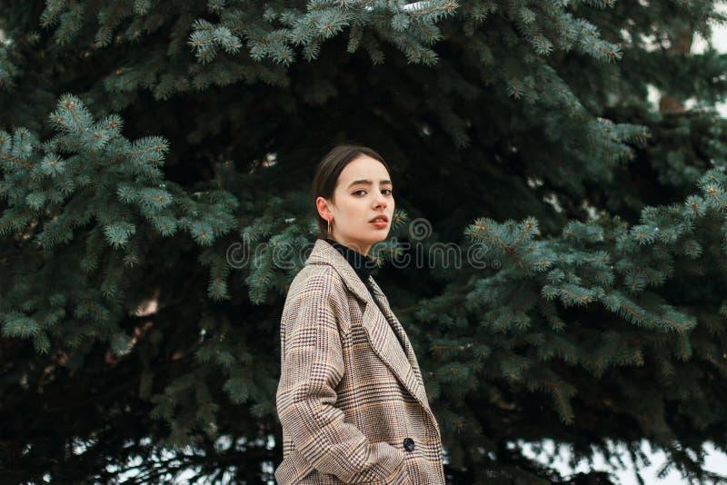 Belle position de fille parmi des arbres en parc d'hiver image stock