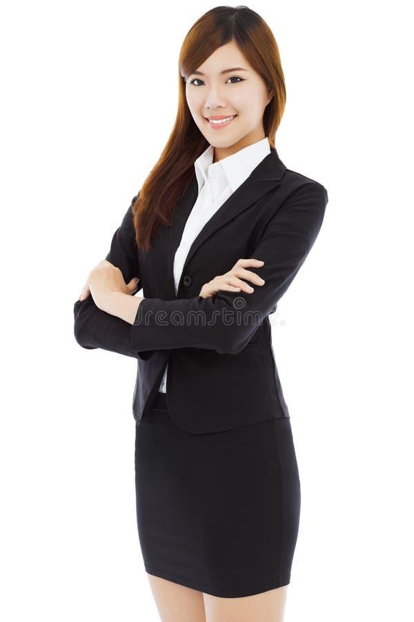 Belle position intégrale de femme d'affaires D'isolement sur le blanc photos libres de droits