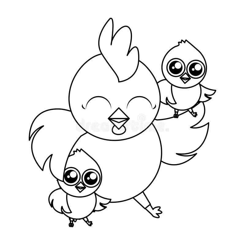 Belle poule avec des caractères de Pâques de poussins de littl illustration de vecteur