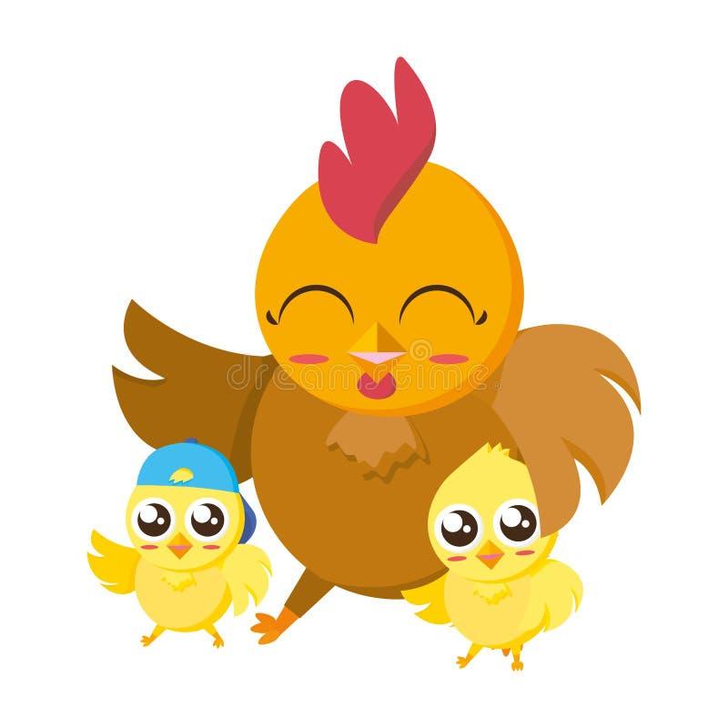 Belle poule avec des caractères de Pâques de poussins de littl illustration stock