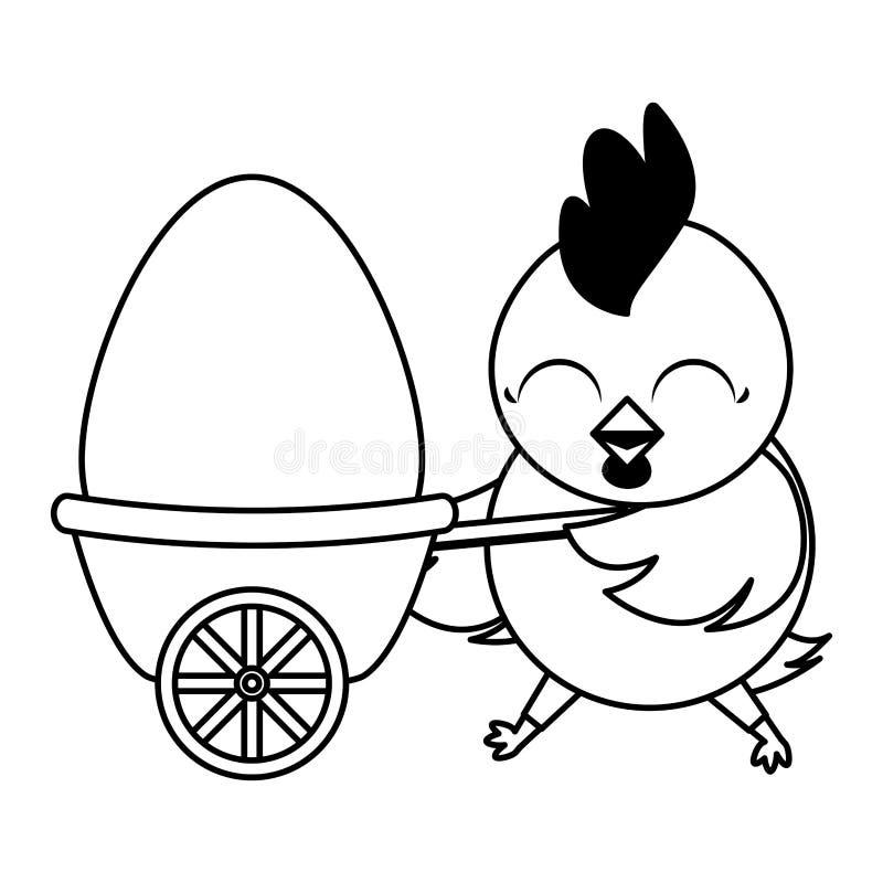 Belle poule avec l'oeuf peint dans la brouette illustration de vecteur