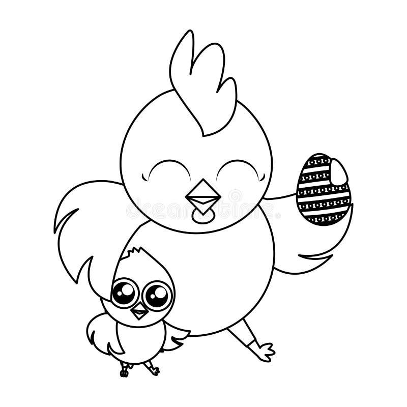 Belle poule avec l'oeuf peint et poussin illustration de vecteur