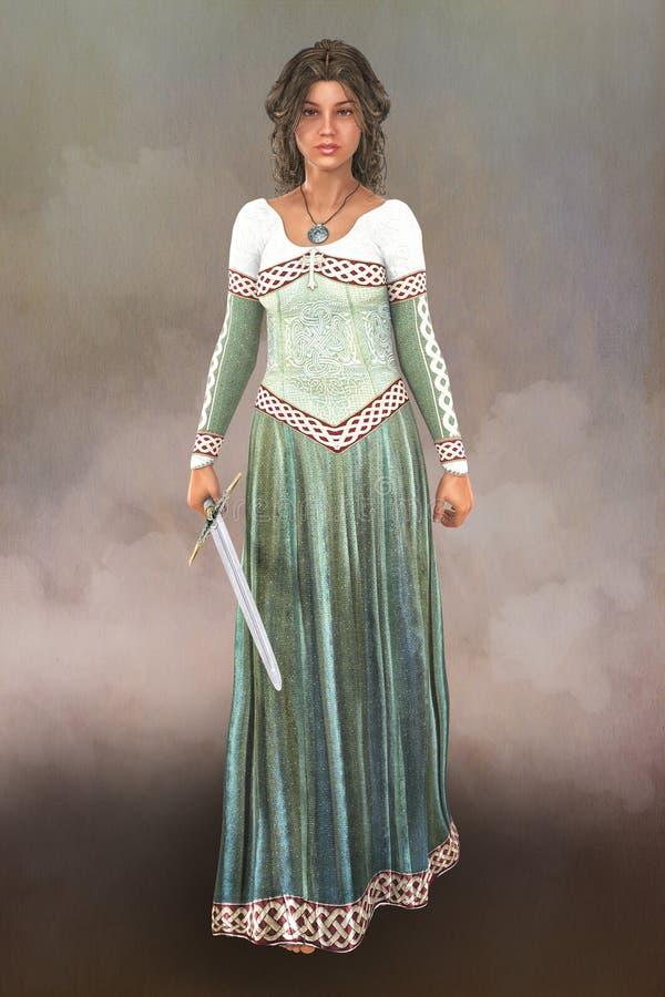 Belle princesse avec une épée illustration stock