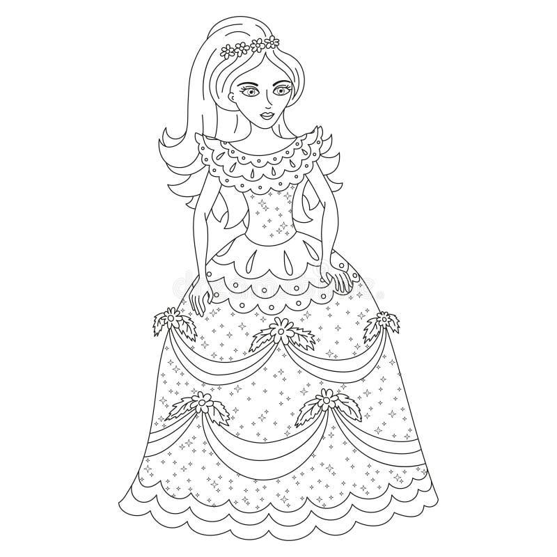 Belle princesse dans la robe brillante avec des paillettes - Dessin de robe de princesse ...