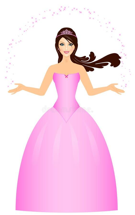 Belle princesse dans le rose illustration stock