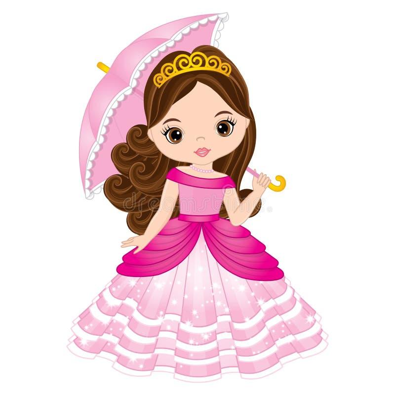 Belle princesse de vecteur dans la robe rose illustration de vecteur