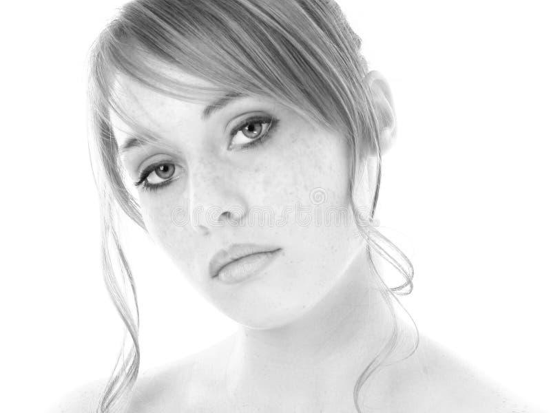 Belle quatorze filles d'ans en noir et blanc images libres de droits