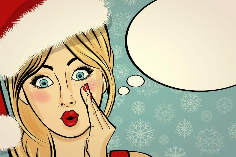 Belle rétro carte de Noël personnalisable avec la goupille sexy vers le haut de San illustration stock