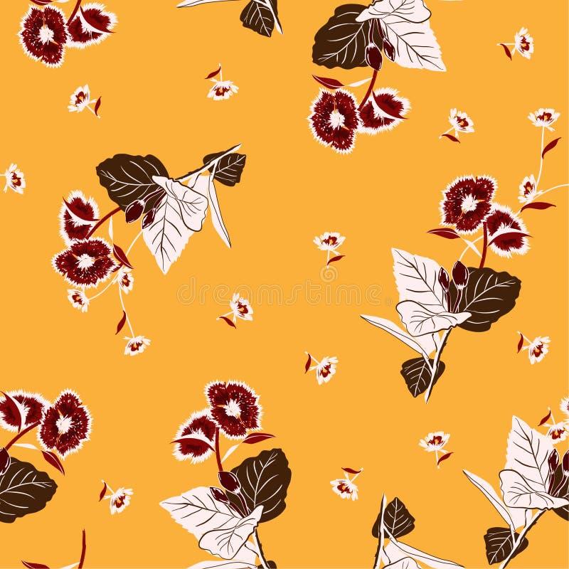 Belle rétro fleur de jardin sur un bagout sans couture de répétition aléatoire illustration stock