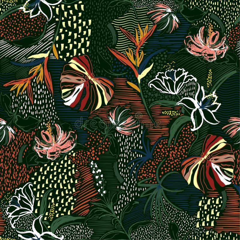 Belle rétro fleur tirée par la main, forêt tropicale de paume, et floraison florale dans la ligne modèle sans couture d'humeur de illustration stock