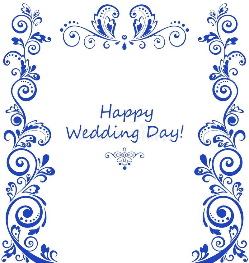 Belle rétro frontière bleue florale illustration stock