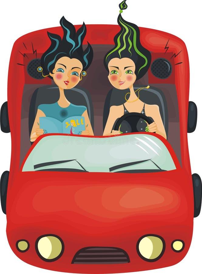 Belle ragazze in automobile (vettore) illustrazione di stock