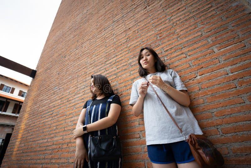 Belle ragazze moderne vicino al muro di mattoni arancio Pantaloni a vita bassa della gioventù immagine stock