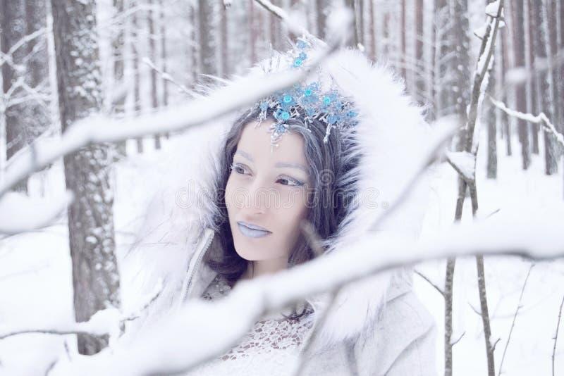 Belle reine de neige en portrait de forêt d'hiver de jolie princesse de glace image stock