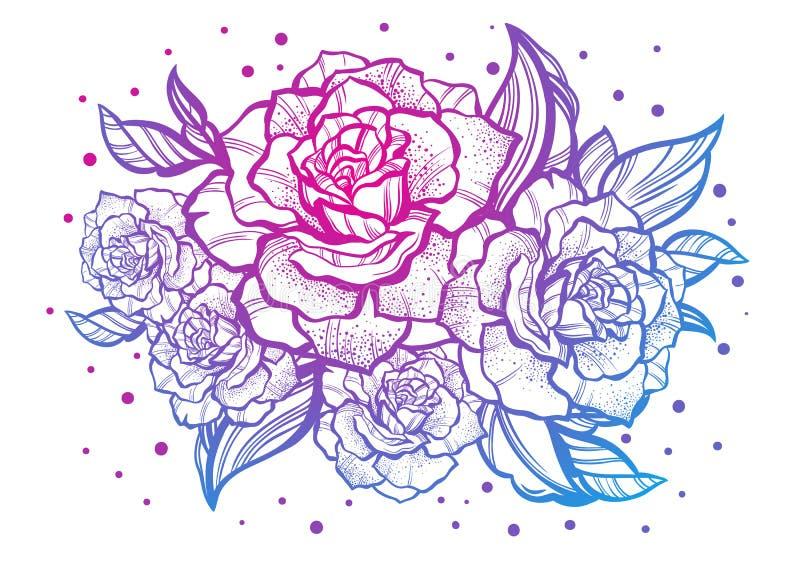 Belle rose disegnate a mano Tatuaggio Art Composizione d'annata grafica Illustrazione di vettore isolata Magliette, stampa, manif royalty illustrazione gratis
