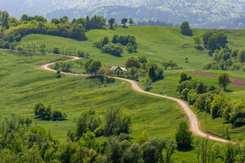 Belle route sinueuse dans la zone rurale de Bucovina, Roumanie images libres de droits