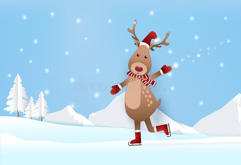 Belle saison avec des cerfs communs sur patiner et neige, papier de pin illustration libre de droits