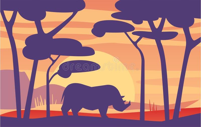 Belle scène de la nature, paysage africain paisible avec le rhinocéros au temps de soirée, calibre pour la bannière, affiche illustration libre de droits