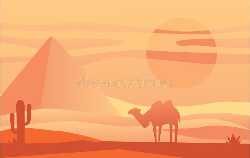Belle scène de la nature, paysage paisible de désert avec le chameau au temps de soirée, calibre pour la bannière, affiche, magaz illustration de vecteur