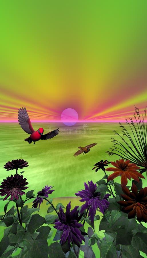 Belle scène tropicale illustration de vecteur