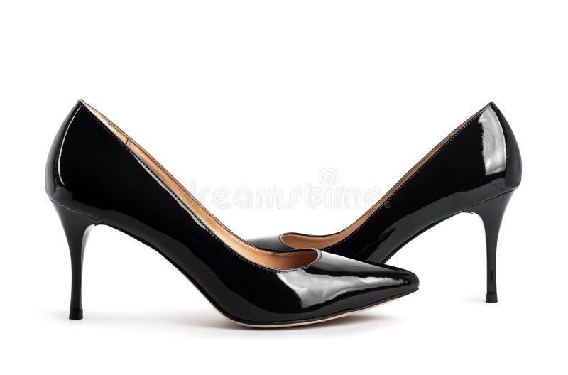 Belle scarpe classiche nere delle donne fotografia stock libera da diritti
